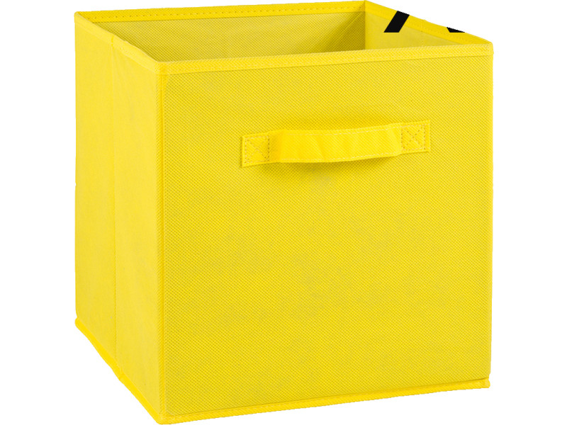 lot de 4 tiroirs de rangement en tissu jaune 27x27x28cm pegane