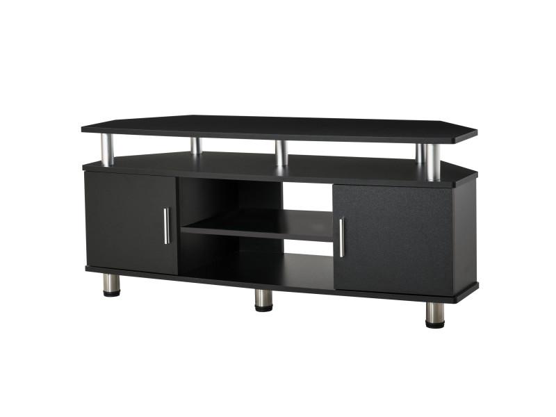 meuble banc tv design contemporain multi rangements 2 portes niche centrale etagere grand plateau 120l x 40l x 52h cm noir chrome