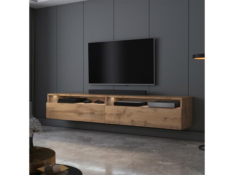 meuble tv rednaw 180 cm chene wotan avec led