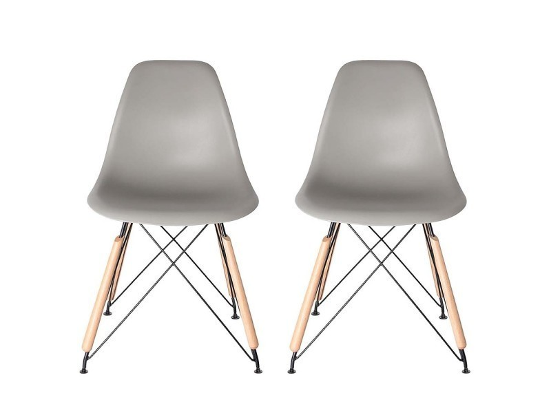 chaises design scandi gris lot de 2 vente de the concept factory conforama