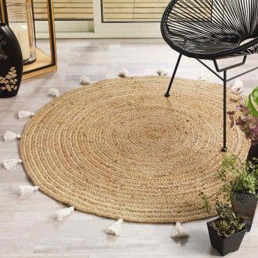 https www conforama fr decoration textile tapis tapis salon et chambre tapis rond 120 cm jute shira blanc p i68076054