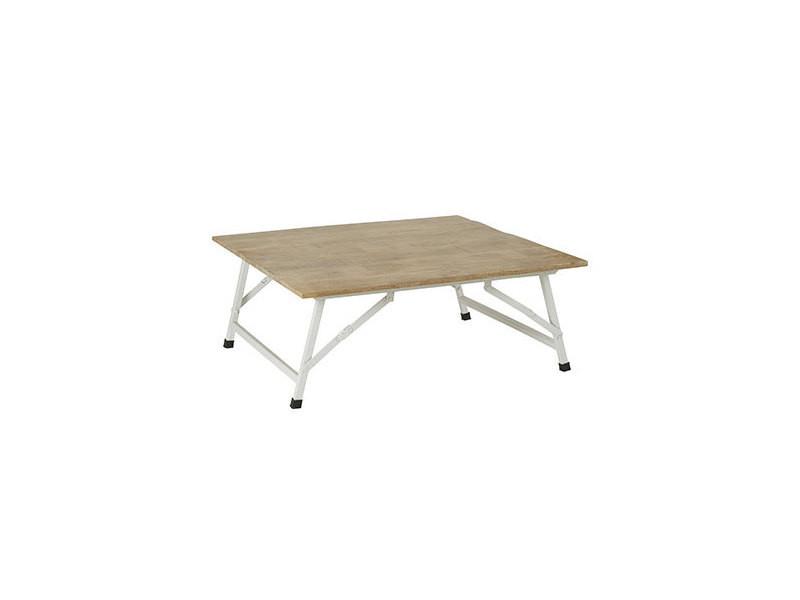 table basse pliante 100x100x46 cm en manguier mango
