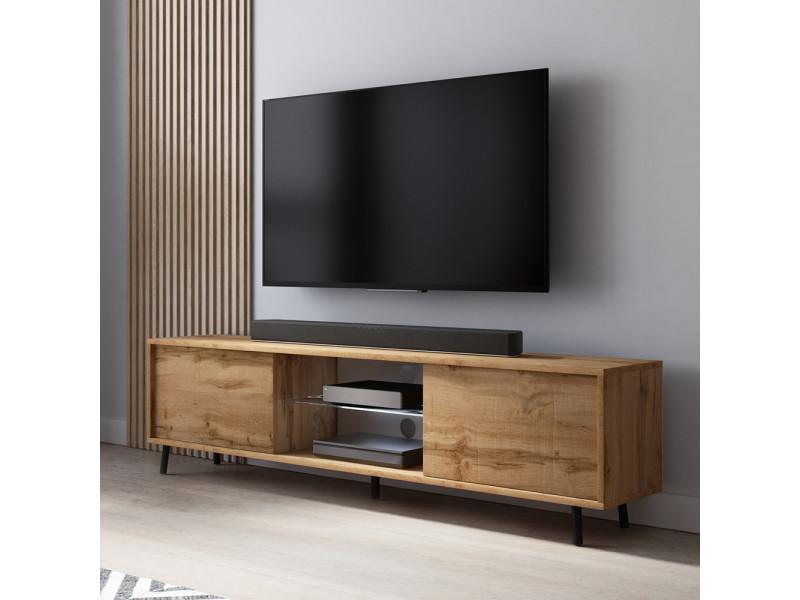 meuble tv lefyr 140 cm chene wotan eclairage led