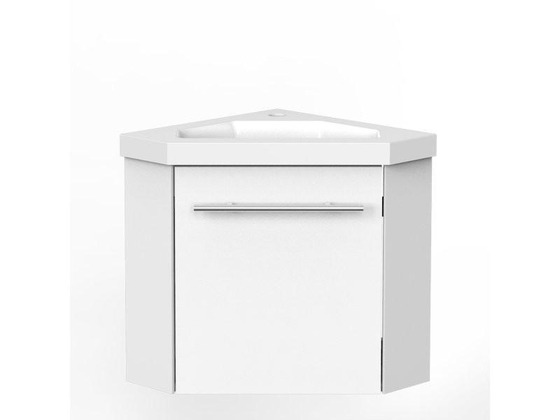 Aica Meuble De Salle De Bain D Angle Sous Vasque Avec Lavabo Integre Blanc 40cm A Suspendre Vente De Armoire Colonne Etagere Conforama