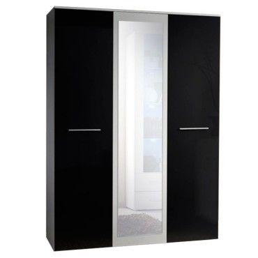 Paris Prix Armoire 3 Portes Miroir Big 190cm Noir Blanc Vente De Paris Prix Conforama