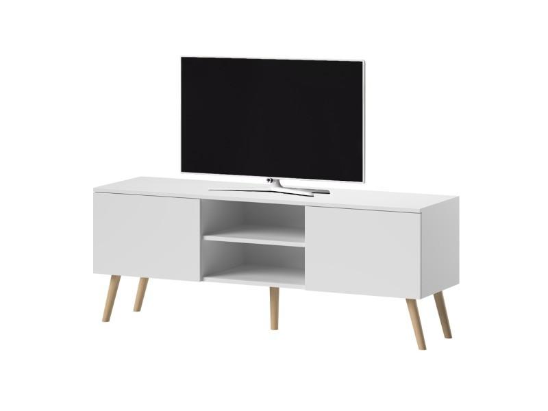 meuble tv meuble salon verozia lignnum 140 cm blanc mat style scandinave pieds de hetre huile