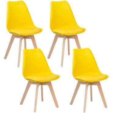 lot de 4 chaises scandinaves jaune