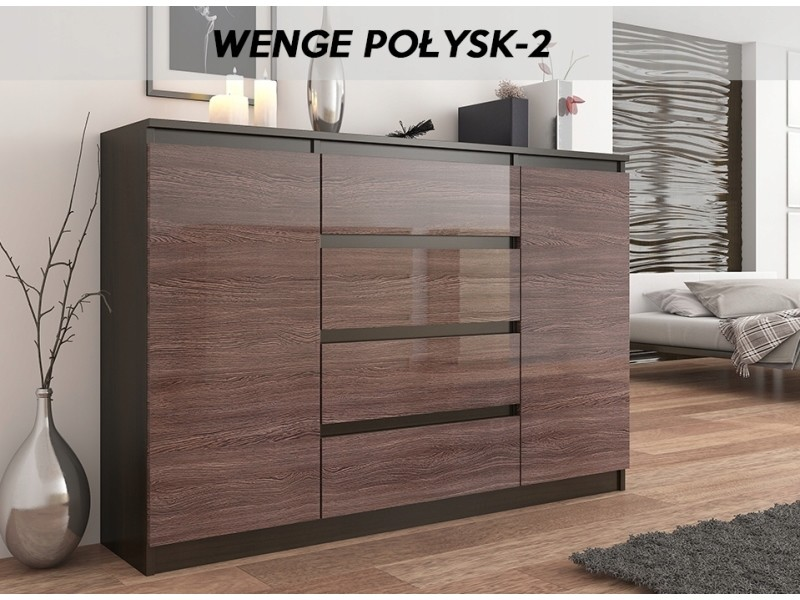 porto 2w commode contemporaine meuble rangement chambre salon 140x40x98 cm dressing 4 tiroirs 2 portes buffet sejour wenge gloss