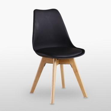 chaise scandinave noire lorenzo assise rembourree salle a manger cuisine ou bureau e18646166