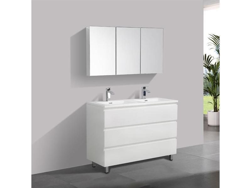 Meuble Salle De Bain Design Double Vasque Verona Largeur 120 Cm Blanc Laque Vente De Salle De Bain Pretes A Emporter Conforama