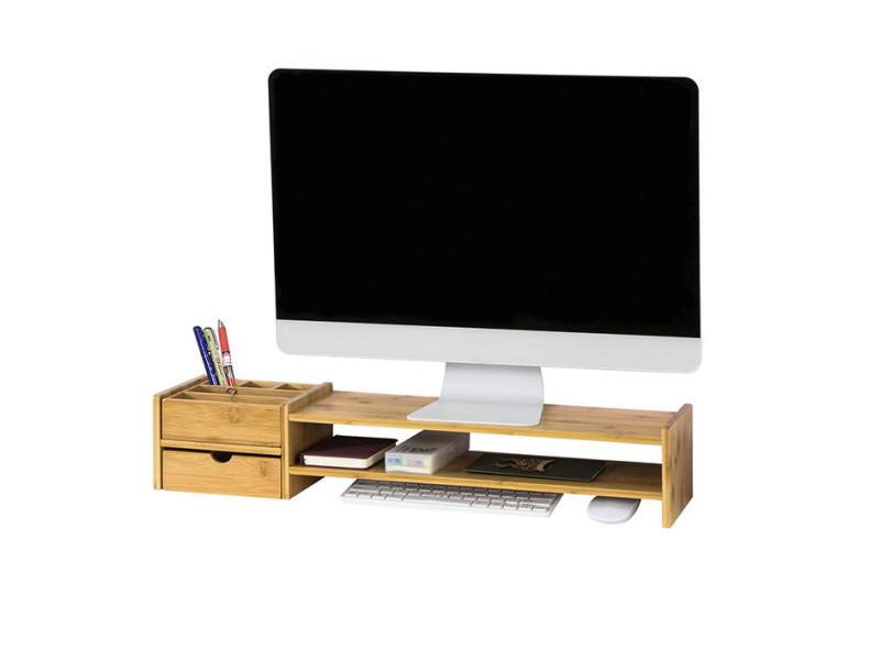 sobuy bbf01 n rehausseur d ecran support de moniteur ecran ergonomique support pour ecran d ordinateur universal ou ecran tv en bambou