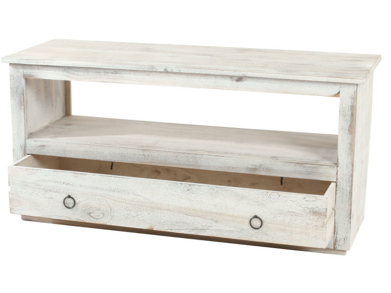 meuble tv etagere lowboard shabby blanche vintage chic pegane