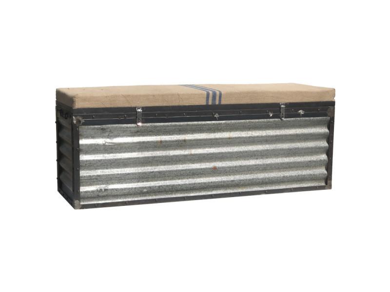 coffre malle banc industriel campagne fer metal 141 cm x 55 cm