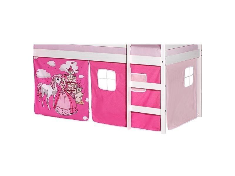 lot de rideaux cabane pour lit sureleve superpose mi hauteur mezzanine tissu coton motif princesse rose
