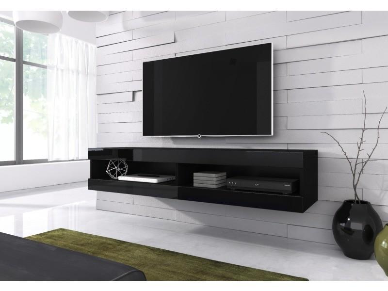 e com meuble tv flottant volant 150 cm mat noir et noir brillant