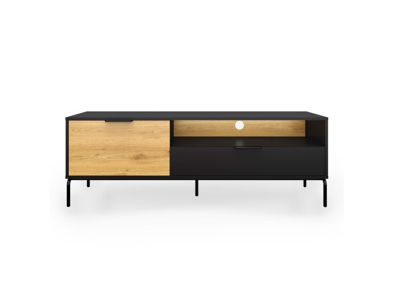 meuble tv 1 tiroir 1 porte en bois et metal noir tamara