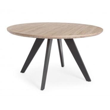 Table Ronde En Bois Et Metal O 134 X H 76 Cm Pegane Vente De Table Conforama