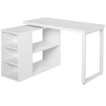 Bureau Informatique Table Informatique Modulable Design Contemporain Pivotant 2 Plateaux Multi Rangements 120 X 108 X 76 Cm Blanc Vente De Homcom Conforama