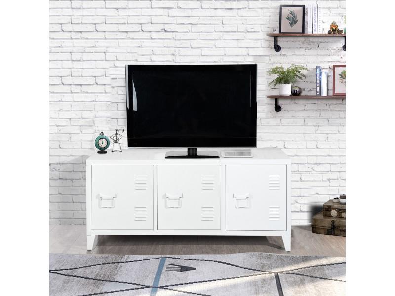 meuble bas meuble tv cabinet metal blanc 3 portes