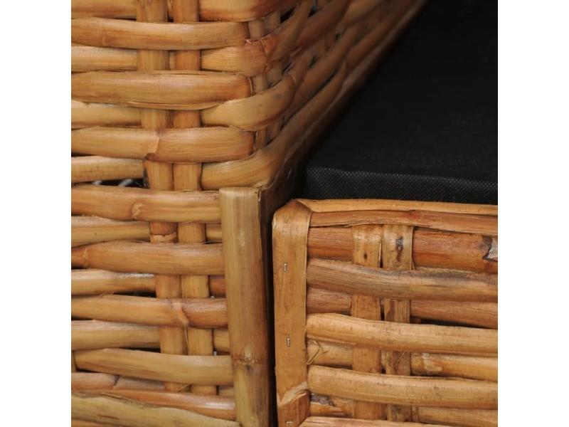 icaverne canapes edition canape a 2 places avec coussins marron rotin naturel