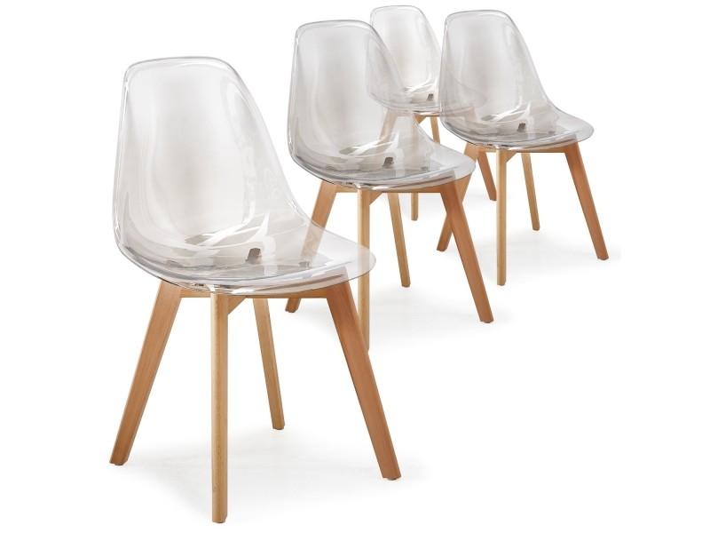 lot de 4 chaises scandinaves larry plexi transparent