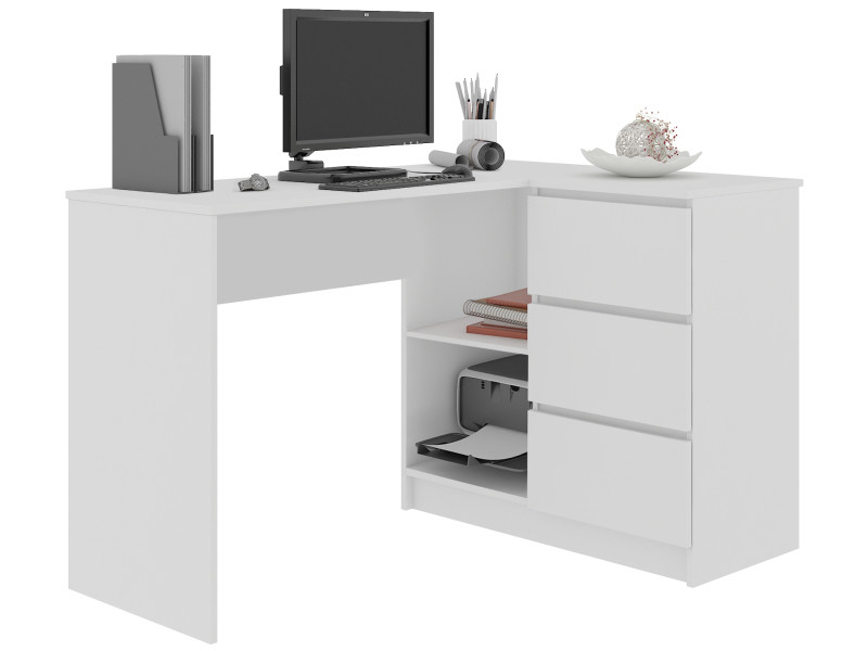 sundar bureau informatique d angle moderne 124x85x77 3 tiroirs 2 grandes niches table ordinateur multi rangements blanc