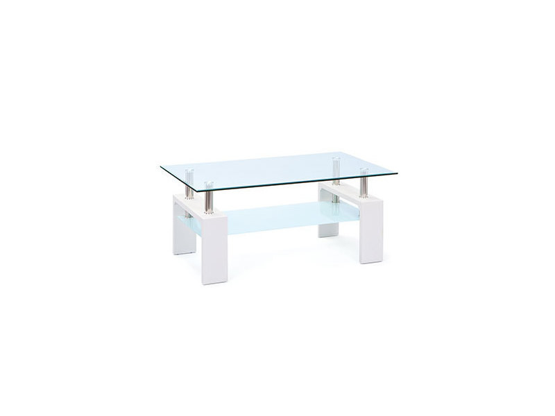table basse double plateau en verre blanc kimmy