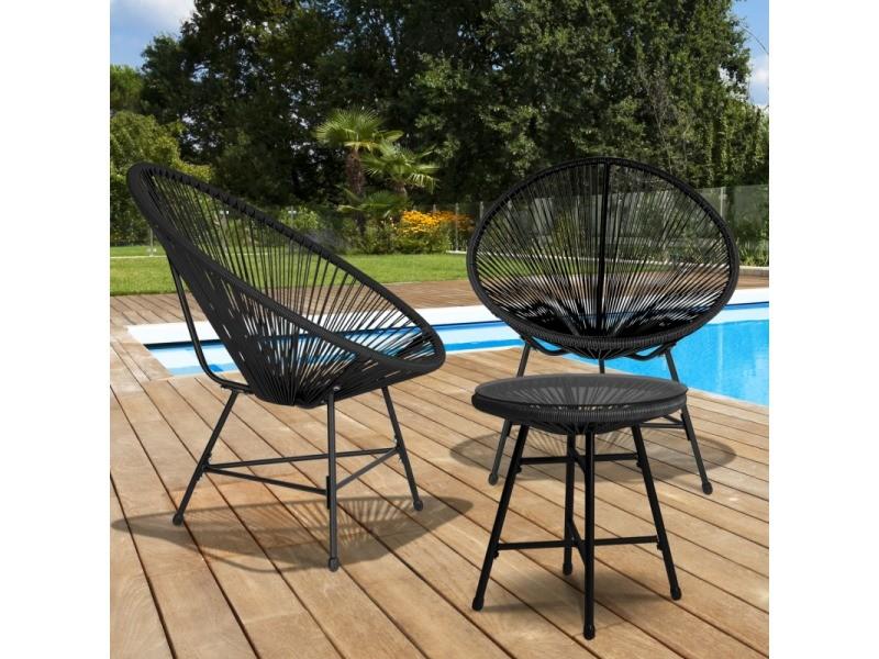 salon de jardin izmir table et 2 fauteuils oeuf cordage noir