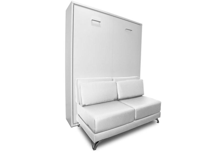 armoire lit escamotable town canape blanc integre couchage 140 200cm