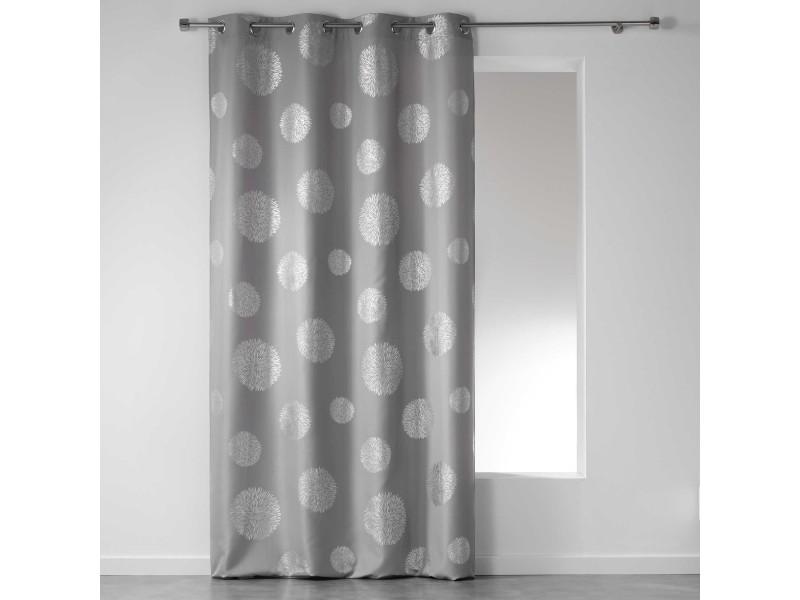 cdaffaires rideau a oeillets 140 x 260 cm polyester imprime argent artifice gris