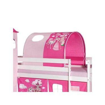 Tunnel Tente Pour Lit Sureleve Superpose Mi Hauteur Mezzanine Tissu Coton Motif Princesse Rose Vente De Idimex Conforama