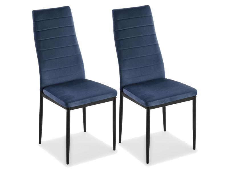 chaise velours bleu marine lot de 2