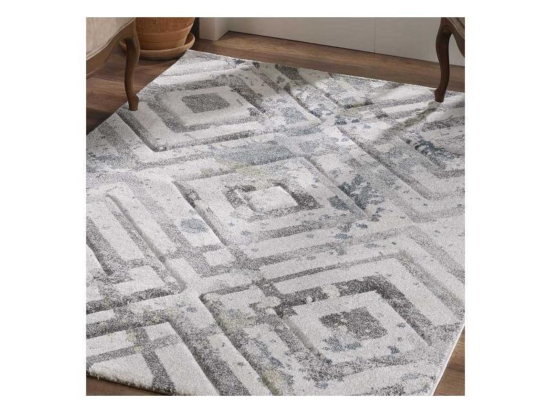 tapis design et moderne 160x230 cm rectangulaire kla absalom gris salon adapte au chauffage par le sol