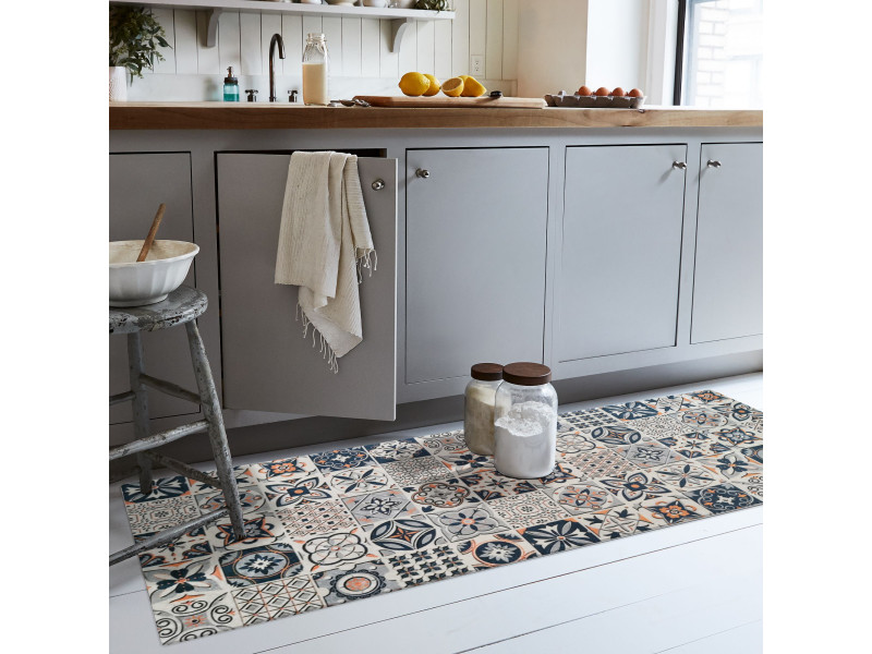 tapis de cuisine effet carreaux de ciment bleu 50x120cm