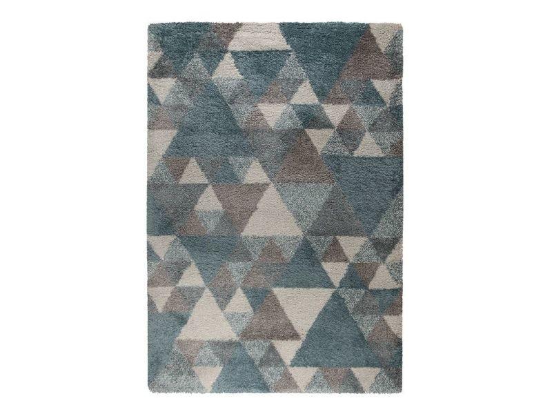 tapis design geometrique bleu gris ecru dakari nuru 80 x 150 cm