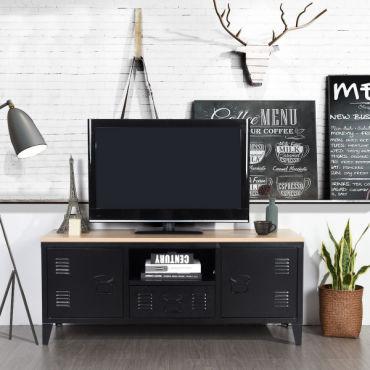 meuble tv bois metal avec 1 niche 2 portes style industriel noir e89665874