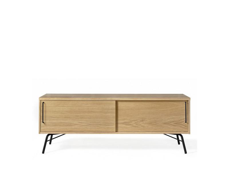 ashburn meuble tv design bois et metal couleur bois clair noir