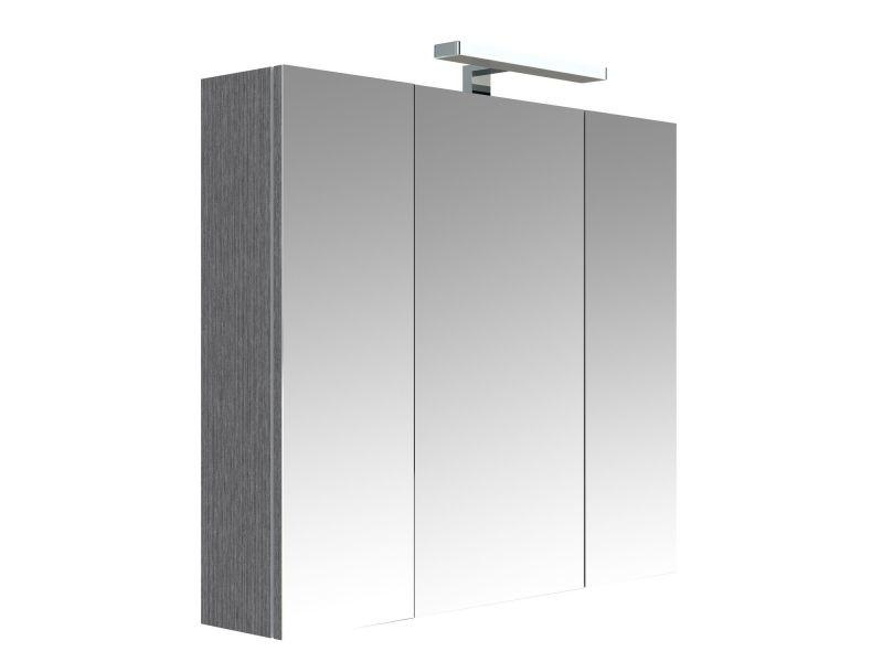 Armoire De Toilette Eclairante 3 Portes Juno L 80 X H 75 Cm Gris Chene Anthracite Vente De Allibert Conforama