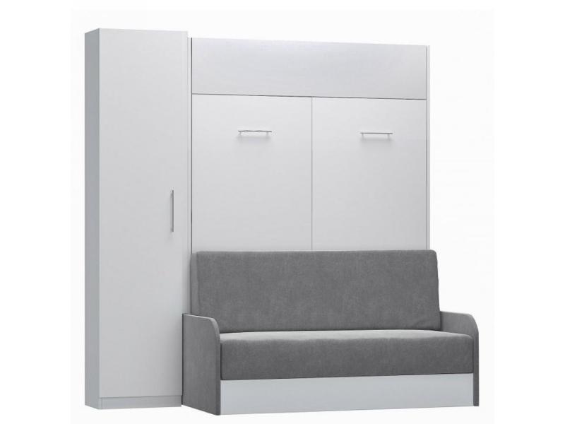 composition lit escamotable blanc mat