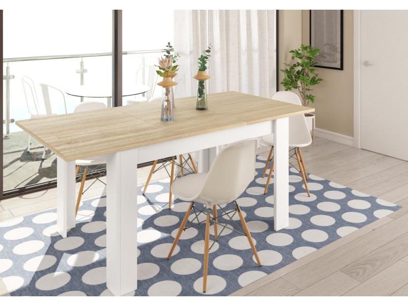 table extensible scandinave kenda bois et blanc 140 a 190 cm