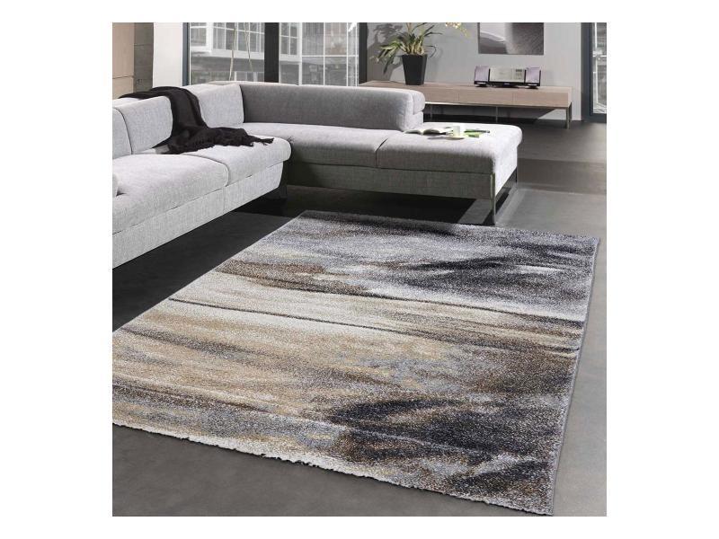 tapis design et moderne 160x230 cm rectangulaire elegant 20355 95 gris salon adapte au chauffage par le sol