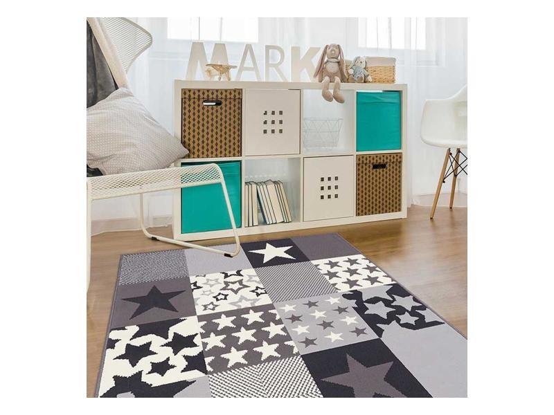 tapis enfant 120x170 cm rectangulaire af caretoile creme chambre adapte au chauffage par le sol