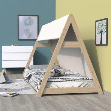lit cabane tipi 90x200 1 toile 1 sommier naturel v45954160