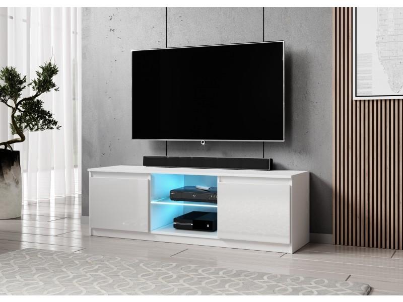 furnix meuble tv banc tv arenal 120 cm blanc brillant avec led