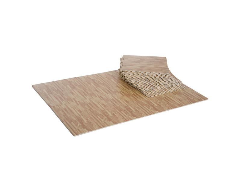 tapis en mousse de protection sol tapis de fitness 62 cm x 62 cm x 1 5 cm avec bordures tapis puzzle 25 pieces 9 3 m de surface imitation parquet en
