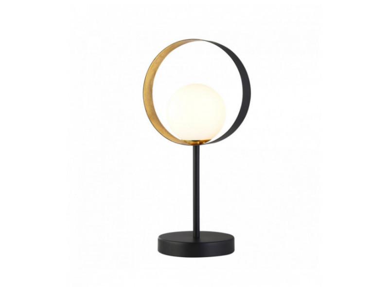 Lampe De Table Orbitale 1 Ampoule Noir Mat Et Feuille D Or Avec Verre Opale Vente De Luminaire Center Conforama
