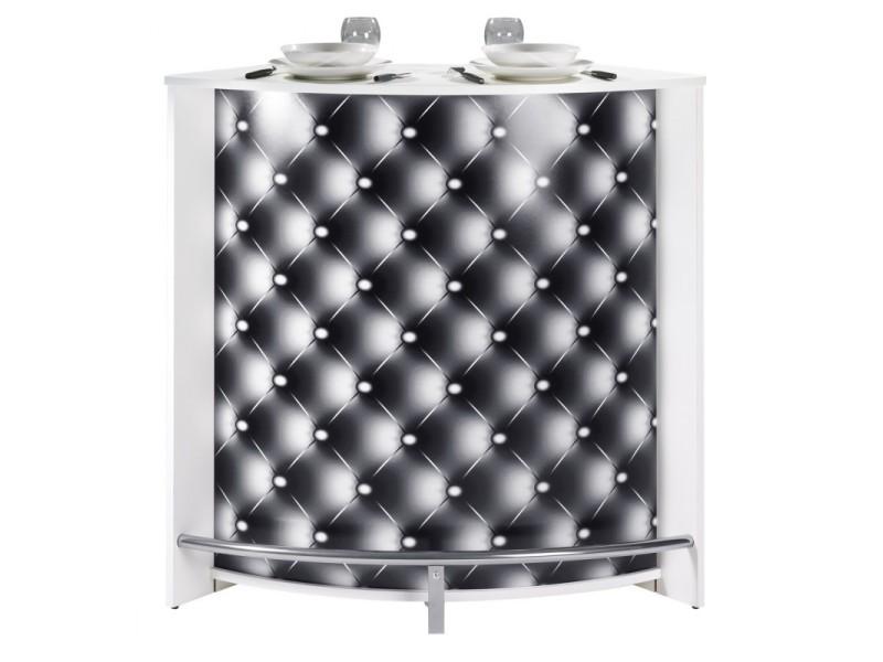 Meuble Bar Comptoir Cuisine Blanc 107 Cm Coloris Capitons 911 Auc3253311039116 Vente De Beauxmeublespaschers Conforama