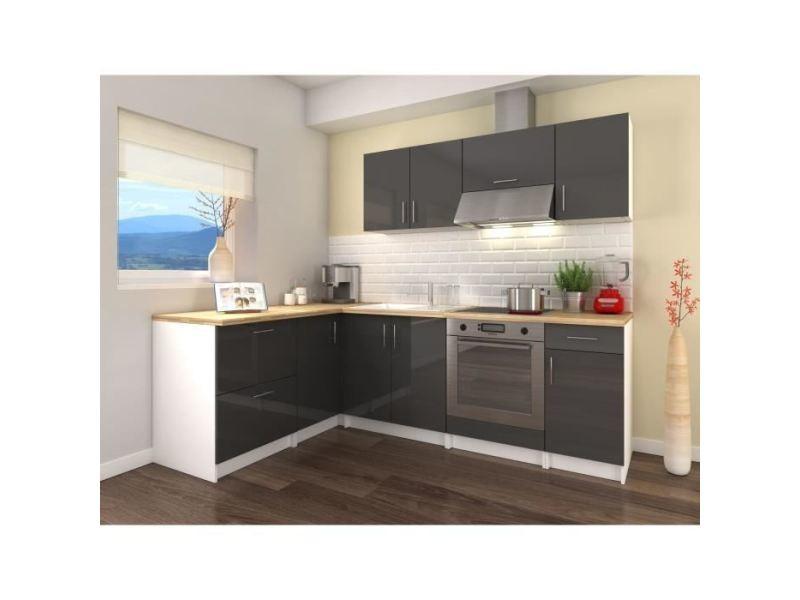 cuisine complete obi cuisine complete d angle l 280 cm gris laque brillant
