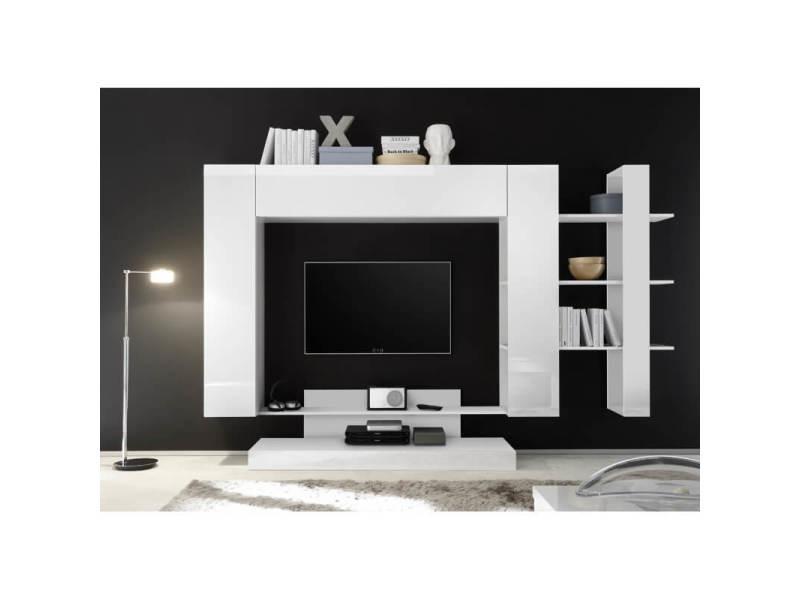banc tv design blanc laque camargue