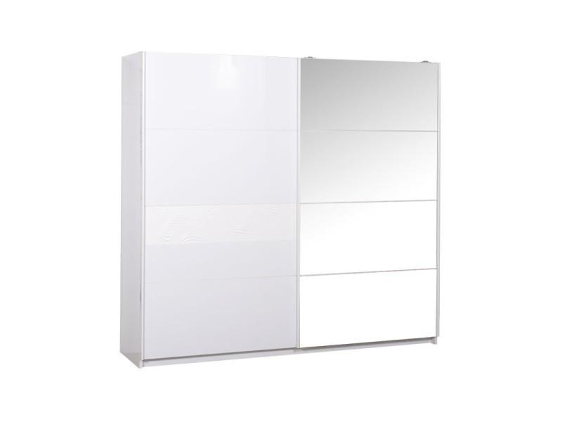 armoire 2 portes coulissantes laque blanc senya l 240 x l 62 x h 223 neuf